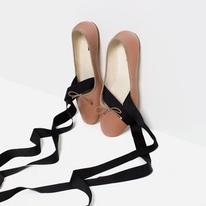 Zara lace up ballet flats size 36